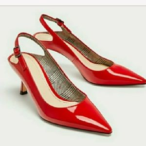 Zara RED FAUX PATENT COURT SHOES